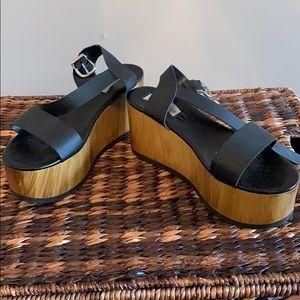 Black Steven Madden Wedge Platform Sandals
